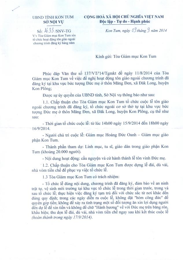 Thư trả lời của Sở Nội vụ Kontum (trang 1)